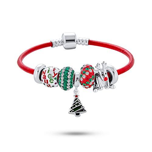 Christmas Tree Naughty Nice Saying Holiday Rudolf Red Nose Reindeer Festive Multi Charm Bracelet Genuine Red Leather For Women Teens .925 Sterling Silver European Barrel Snap Clasp 7.5 Inch