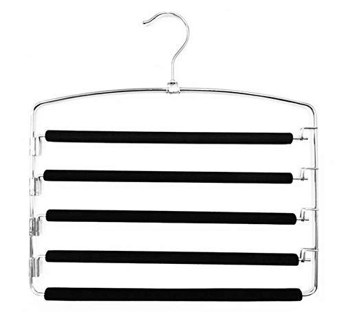 Raumsparende Multi-Bar-Metall-Hosen-Aufhänger, stabil mit rutschfesten Polsterung, Swing Bars für jeweils 5 Jeans, Anzugspoten, Schals