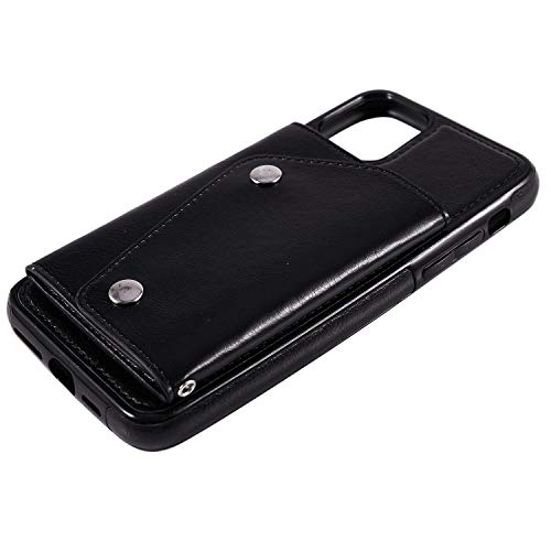 Liseng - Funda para 11 Pro Max 6.5, funda protectora de piel original para teléfono trasero, funda de mujer para 11 Pro Max 6.5, color negro