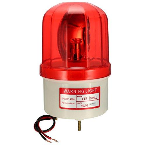 uxcell LED Warning Light Rotating Flashing Industrial Signal Alarm Tower Lamp Buzzer 90dB AC 110V Red LTE1101LJ