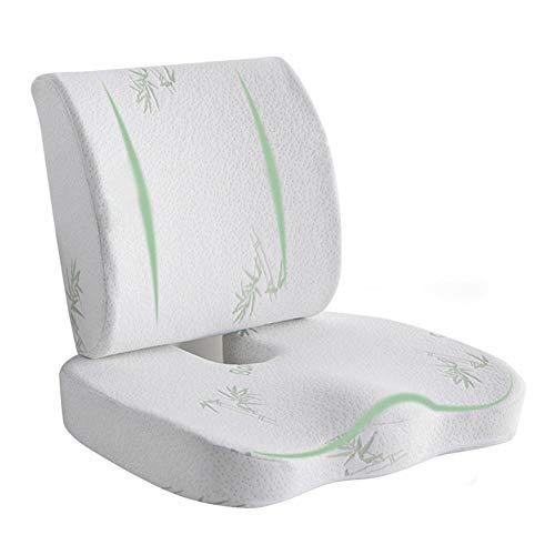 TARTIERY Cojín de espuma viscoelástica para asiento de coche y almohada de apoyo lumbar, cojín de descompresión transpirable y cojín lumbar para dolor de coxis y coxis, perfecto para silla de oficina
