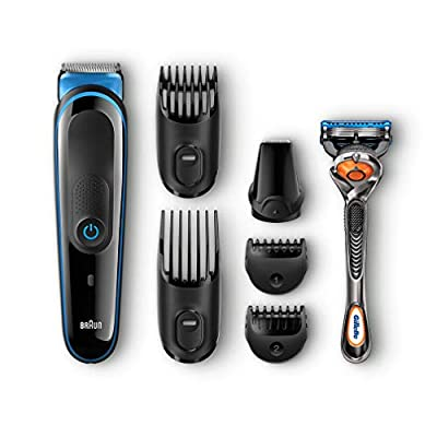 Braun Multi Grooming Kit MGK3045 - 7-in-1 Precision Trimmer for Beard and Hair Styling + Gillette Fusion ProGlide Razor, Black/Blue by Procter & Gamble