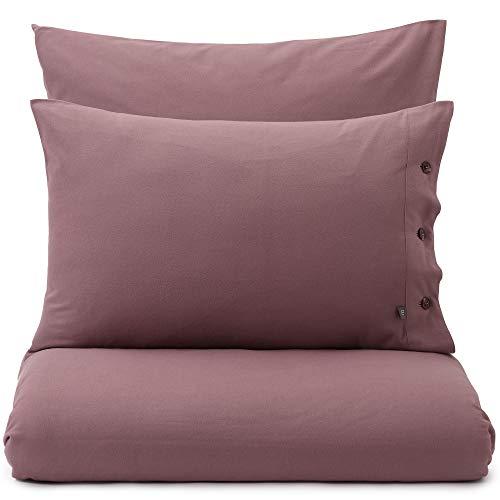 URBANARA Juego de cama de franela Telhado – Funda nórdica de 135 x 200 cm gris oscuro con botones 50% tencel 50% algodón Oeko-Tex Standard 100