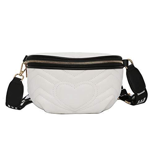 RERU Hüfttasche Frau Taille Pack Liebe Crossbody Schulter Tasche Mode Wilden Brust Tasche sac Femme Ceinture gürtel Tasche Frauen E White