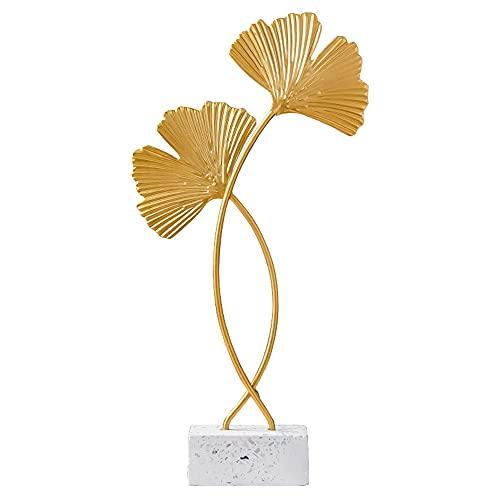 Ginkgo Biloba Statuette Decorative Casa, Ornamenti Moderni Colorati in Metallo Ornamenti per la Casa per centrotavola soggiorno arredamento ufficio a casa (oro)