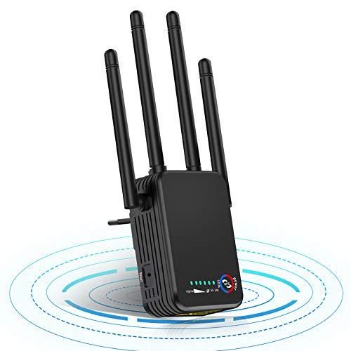 4 Antenas Amplificador Señal WiFi, 1200Mbps Repetidor WiFi 5GHz 2.4GHz 200㎡Poderoso Usado como Extensor WLAN con Puerto LAN de 2 Gigabit, WPA2-PSK, Compatible con Todos Dispositivos WLAN
