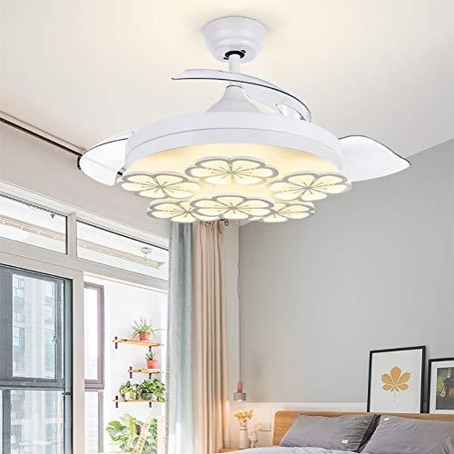 Ventilador de techo 42 pulgadas / 107 CM Ventilador de techo invisible Luz de restaurante Silencio del ventilador Luz de frecuencia variable Dormitorio de la habitación con ventilador Lámpara LED Re