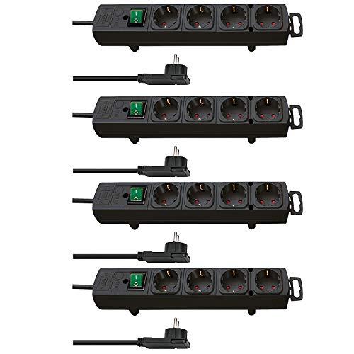 Brennenstuhl Comfort-Line Plus, Steckdosenleiste 4-Fach (mit Flachstecker, Schalter, 2m Kabel und extra breite Abstände der Steckdosen) Farbe: schwarz (4-Fach, 4 Stück)