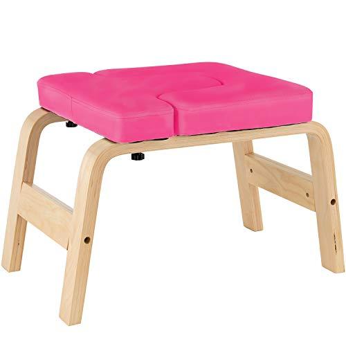 Buy Bargain Murtisol Yoga Chair Wood Stand Headstand Bench Stool with PVC Pads for Family, Gym, Reli...