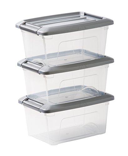 IRIS OHYAMA stapelbare Aufbewahrungsboxen mit Klickverschluss, Plastik, transparent, Grau Deckel, 5 L, 3er Set