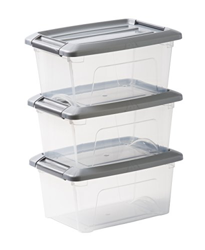 Iris Ohyama, 3er-Set stapelbare Aufbewahrungsboxen mit Klickverschluss - New Top Box NTB-5 - plastik, silber, 3 x 5 L, L28,5 x B19,5 x H14 cm