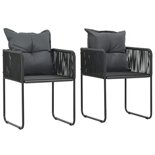 vidaXL 2X Chaise de Jardin Résine Tressée Noir Balcon Terrasse Patio Fauteuil