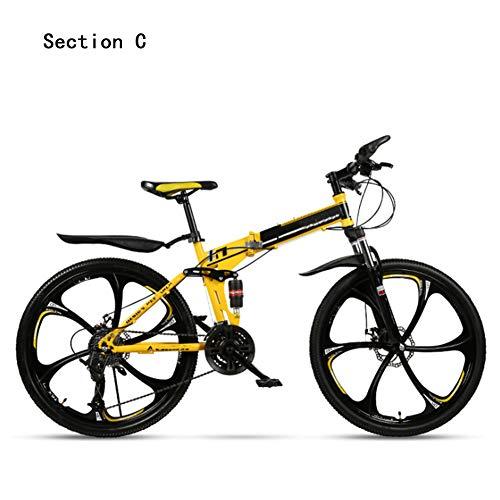 HWOEK Bicicleta de montaña Plegable, 26 Pulgadas Adulto Bicicleta De Trekking Doble Freno de Disco 21/24/27/30 velocidades Doble absorción de Impactos Unisexo,Amarillo,C 27 Speed