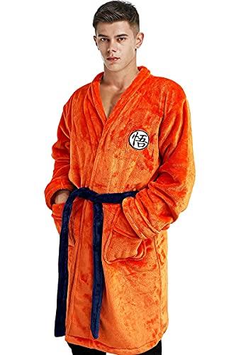 Bata de Baño para Hombres Pijamas Ropa de Dormir Super Suave Albornoz Drangballs Chal Collar Ropa de Dormir Naranja (L-XL)
