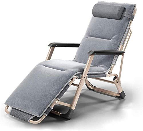 ADHW - Tumbona de exterior, silla larga, jardín al aire libre, mecedora, silla de relajación, sillón acolchado, brazos, único, playa, baño de sol, tumbona, Gray-a