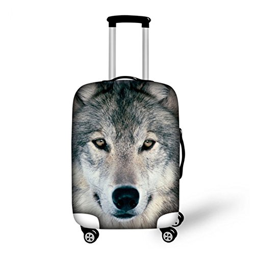 HUGS IDEA Cool Wolf Travel Luggage Cover Fits 26/28/30 Inch Trolley Case High Elastic Thicken Spandex