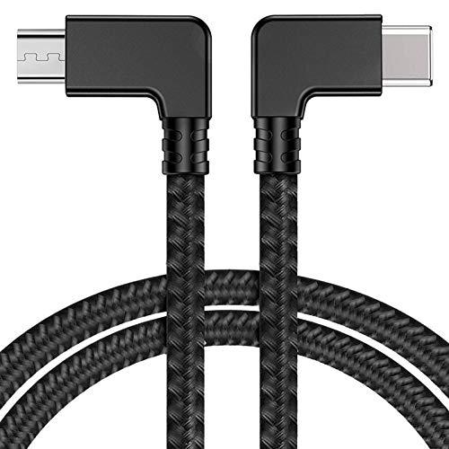iEago RC Micro USB zu Type C Video Daten Kabel Nylon Geflochtener Rückwärtiger Micro USB Stecker für DJI Mavic Mini/Mavic PRO/Spark/Mavic Air/Mavic 2 Pro & Zoom Smartphone und Tablet