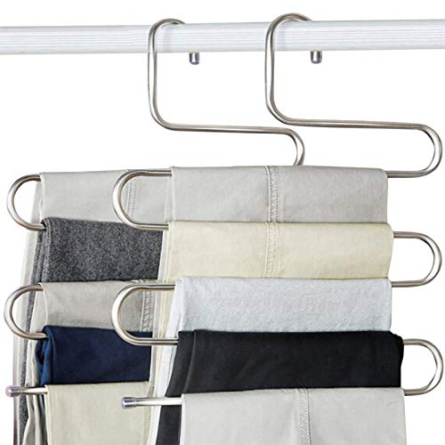 devesanter Pants Hangers S-Shape Trousers Hangers Stainless Steel Clothes Hangers Closet Space Saving for Pants Jeans Scarf Hanging Silver 4 Pack with 10 Clips
