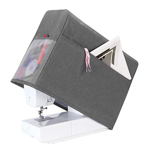 Teamoy Sewing Machine Cover, Dust Cover Protector Compatible with Most Standard Singer and Brother Sewing Machines, Gray