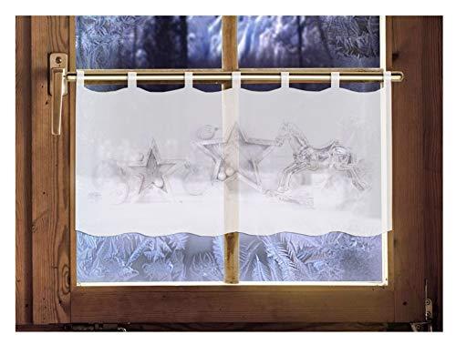 Scheibengardine Christmas TIME 45 x 120 cm Caféhausgardine Weihnachtsgardine winterliche Landhausdeko