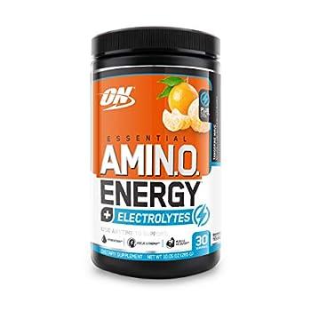 Optimum Nutrition Amino Energy + Electrolytes - Pre Workout BCAAs Amino Acids Keto Friendly Energy Powder - Tangerine Wave 30 Servings