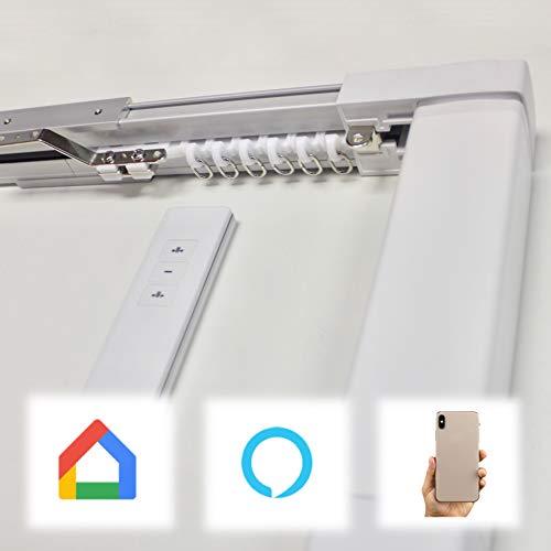 Abalon Gordijnrail, gemotoriseerd, 1 tot 5 m, wifi-motor, compatibel met Alexa Google Home en App, Smart Home, met afstandsbediening, aluminium, elektrische rail