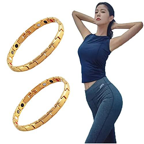 PNDGMCSY 2PCS IONLift Butt Firming Bracelet,ButtLift Ladies Magnetic Bracelet,Fitlab Enhance Hip Bracelet,IONWrist Energy Balancing,Stylish Fitness Therapy Magnetic Bracelet (Gold)