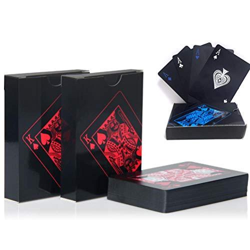 YYBF Pokerkarten Wasserfeste Profi Plastik Playing Cards, Deluxe Kartenspiele, Profi Spielkarten, Für Jeden Anlass, Party, Familie, Freizeit, Unterhaltung, Grill,Blue+Gold