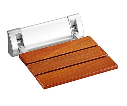 LNRTOLV Wand-Bad Hocker Massivholz Bad Klappsitz Dusche Wandhocker Massivholz Falten Bad Walker barrierefrei Anti-Rutsch-Bad Handläufe ältere Sicherheit Wand,braun,A