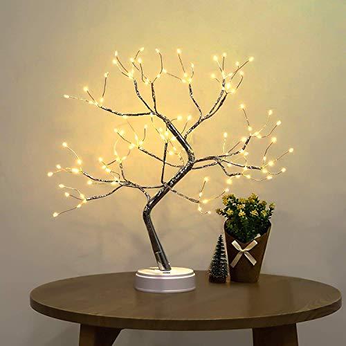 Lámpara de árbol de alambre de cobre plateado, luz LED bonsái de mesa para bonsáis, decoración, 45 cm, USB y pilas, con interruptor táctil, lámpara de mesa para casa, fiesta, decoración de Navidad
