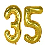 """A 16"""" Gold Number Balloon lets everyone know which big milestone event you're celebrating! You can combine this gold number balloon with other numbers for a custom look at a graduation, birthday, New Year's Eve party, or anniversary. The metallic fin..."""