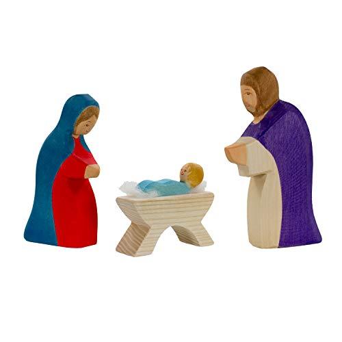 Holzspielwaren Ackermann Heilige Familie (Jesus, Maria, Josef) – Weihnachtsfiguren aus Holz (im Set, 3-teiliges Holzspielzeug)