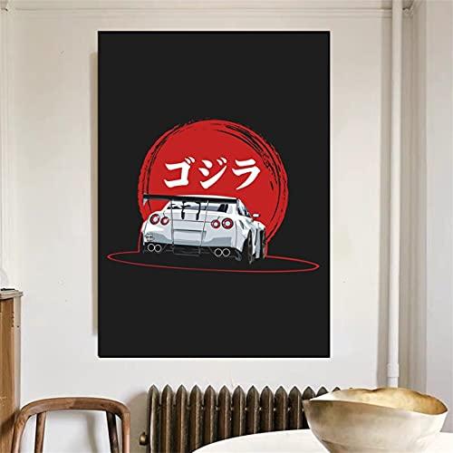 Kingkoil Pintura De Lienzo Nissan Gtr 35 Carca Cartel Vintay Car Poster Ferraris Classic 60x90cm Inner_Framed