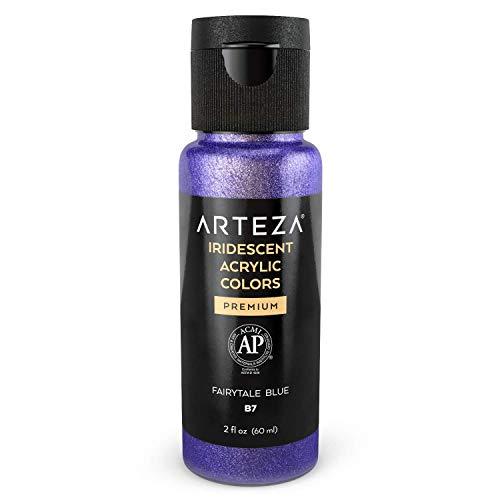 Arteza Acrylfarbe irisierend, B7 Mysteriöses Blau, Chamäleonfarbe 60 ml-Flasche, hochviskose schimmernde Acrylmalfarbe wasserbasiert und mischbar, irisierende Farbe für Leinwand, Holz, Steine, Stoffe