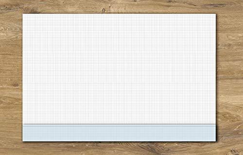 Schreibtischunterlage, kariertes Papier DIN A2 mit Kantenschutz | 40 Blatt zum Abreißen | Büro, Homeoffice