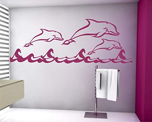 Sticker mural Dauphin Dauphin autocollant sticker mural 100 x 250 cm dans 33 couleurs mat ou brillant - Jaune mat