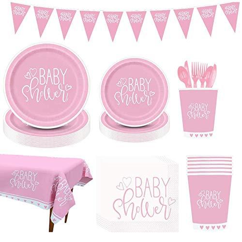 Amycute Decoración para fiesta de bebé para niñas, juego de fiesta de bienvenida de bebé, color rosa, incluye platos, vasos, servilletas, pancartas, mantel, para 16 personas.