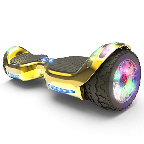 HOVERSTAR Hoverboard All-Terrain LED Flash Wheel with Bluetooth Speaker LED Light Self Balancing Wheel Electric Scooter (Chrome Gold)