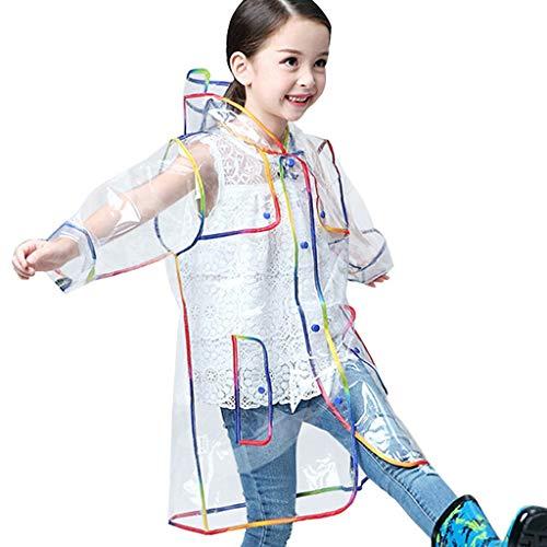 Moent Abrigo y chaqueta de lluvia para niñas, con capucha para niños, impermeable, transparente y grueso, para Pascua, para niños, fiestas de lluvia (multicolor, M)