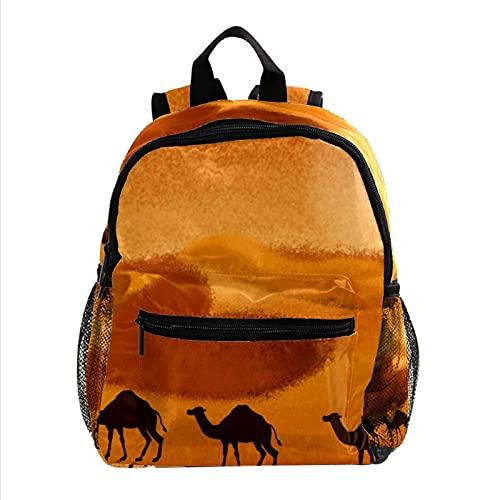 XiangHeFu Mochila pequeña para niñas niño al aire libre a pie bolsa de viaje mochila escolar Cocón de camello del desierto Mochila estampada