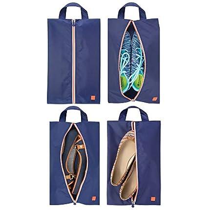 mDesign Juego de 4 bolsas para zapatos – Ligeras bolsas de viaje para guardar zapatos – Fundas con cremallera para deporte, productos de aseo o para la playa – azul marino/blanco/naranja