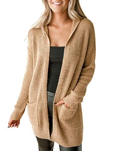 MEROKEETY Women's Long Sleeve Soft Chunky Knit Sweater Open Front Cardigan Outwear with Hood Light Tan M