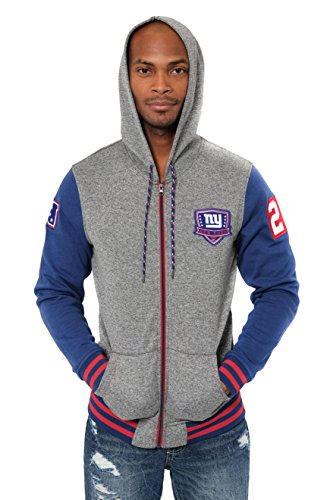 Ultra Game ICER Brands NFL Herren Fleece-Kapuzenpullover Letterman Varsity Jacket, Teamfarbe, Herren, Full Zip Fleece Hoodie Letterman Varsity Jacket, Team Color, blau, Small