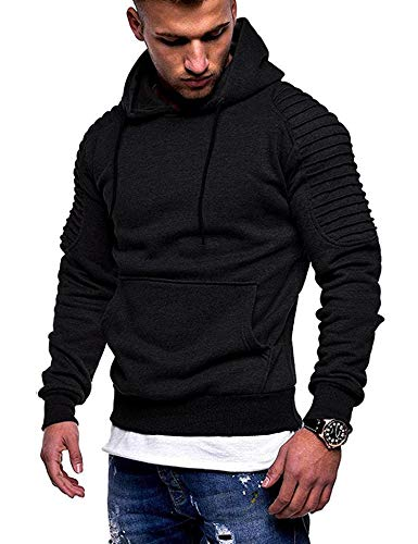 COOFANDY Men's Workout Hoodie Gym Sport Sweatshirt Athletic Pullover Casual Fashion Hooded With Pocket (.Black, Medium)