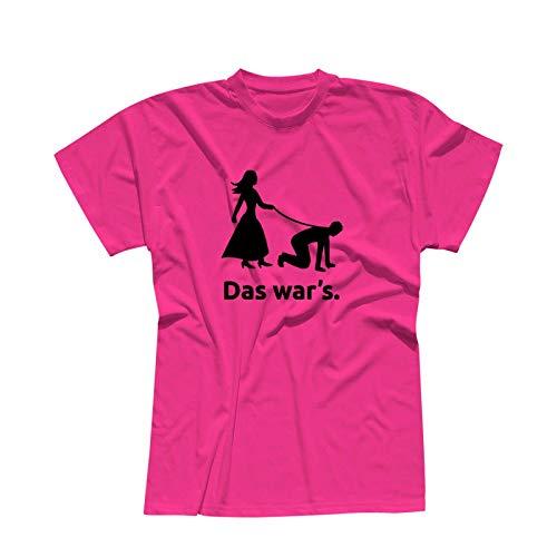 JGA T-Shirt Das War's Hochzeit Junggesellenabschied 13 Farben Herren XS-5XL Feier Party Bräutigam Braut Trauzeuge Malle Dance, Größenauswahl:L, Farbe/Logo:pink - Logo schwarz
