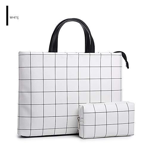 ComputerTasche Schutzhülle wasserdicht Aktentasche Dateitasche Tasche 40 x 29 x 4,3 cm Plaid weiß Plus Power Pack