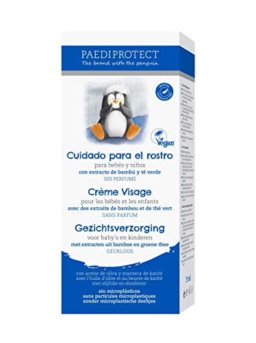 PAEDIPROTECT Cuidado para el rostro para bebés y niños (1x75ml), sin microplástico, sin perfume, vegan. Crema rostro