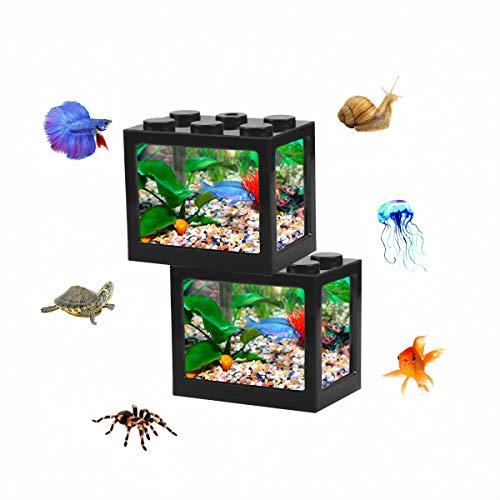2 Pack Starter Aquarium for Children Adult, Small Building Block Fish Tank for Betta Fish Turtle Reptile Insect Jellyfish Goldfish Shrimp Moss Balls Snail, Desktop Decoration (Black)