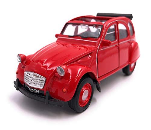H-Customs Welly Citroën 2CV Décapotable Voiture Modèle Auto Produit sous Licence 1: 34-1: 39 Rouge Ouvert
