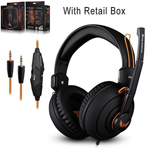 IN THE DISTANCE Gaming Kopfhörer Computer Kopfhörer Headset Mit Mikrofon Lautstärkeregler Gamer Studio Bass Noise Isolating Ovann 3,5 Mm X 7 Kopfhörer (Color : with Retail Box)
